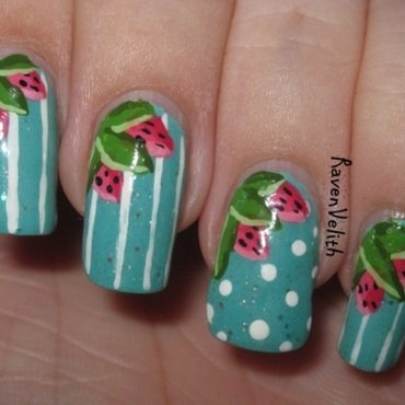 Sweet Strawberries nail art by Lynni V.