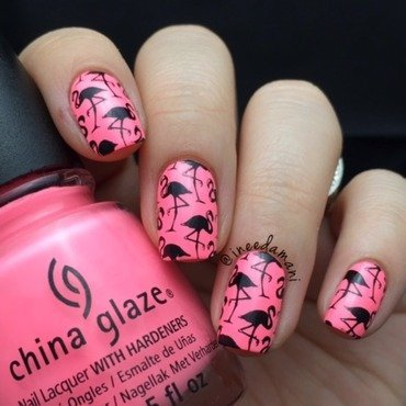 Flamingos nail art by Carmen Ineedamani