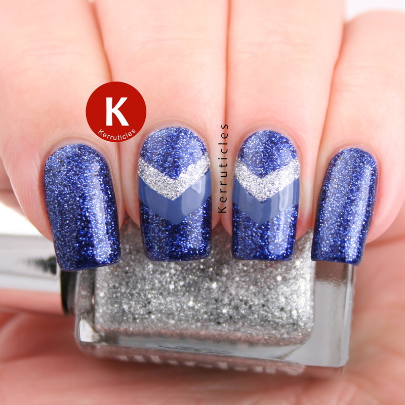 Blue and silver chevrons nail art by Claire Kerr