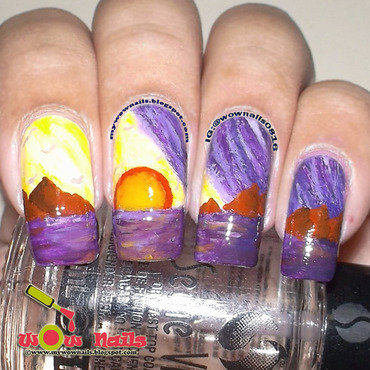 Landscape Painting nail art by Paula of Wow Nails