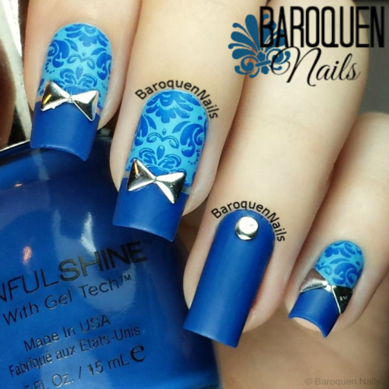 Blue Damask Ii Nail Art By Baroquennails Nailpolis Museum Of Nail Art