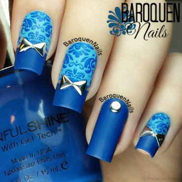 Blue Damask II nail art by BaroquenNails
