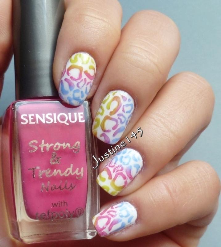 rainbow leopard print nail art by Justine145