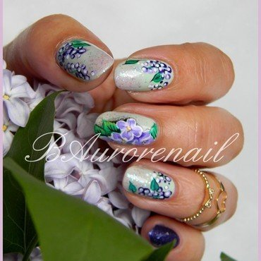 lilas nail art by BAurorenail
