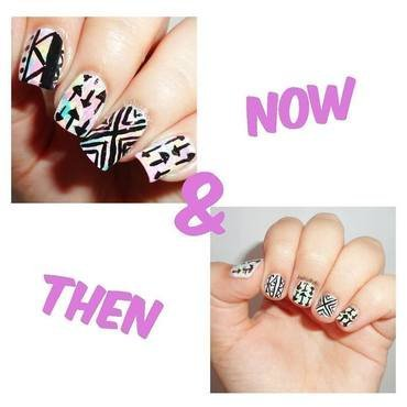 Now & Then nail art by Melany Antelo