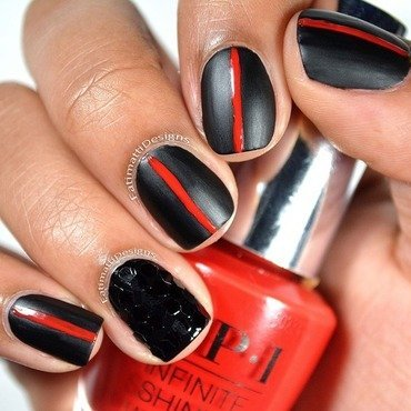 Black Widow nail art by Fatimah