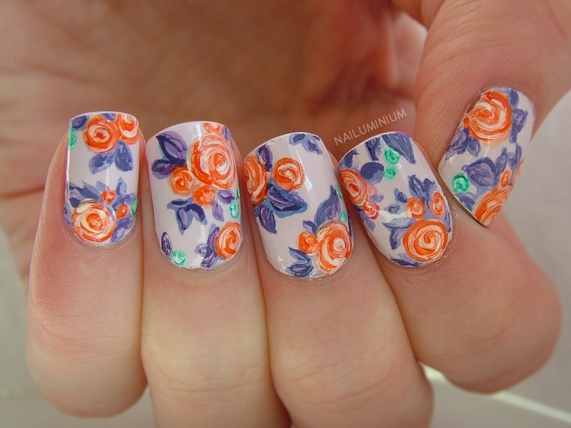 Spring Roses nail art by Margee C.