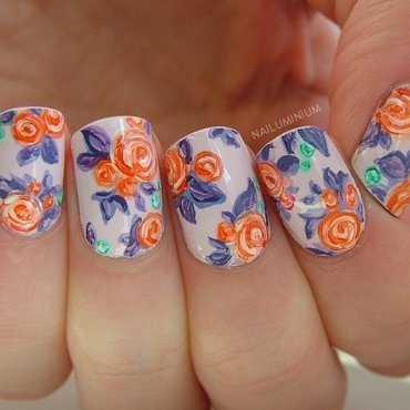 Floral rose nails thumb370f