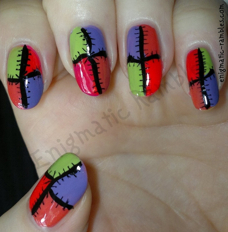 Bright Patchwork nail art by Enigmatic Rambles
