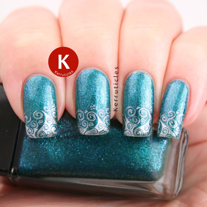 Sparkling teal with stamped waves nail art by Claire Kerr