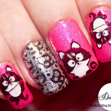 Kitty nail art nail art by Diana Livesay