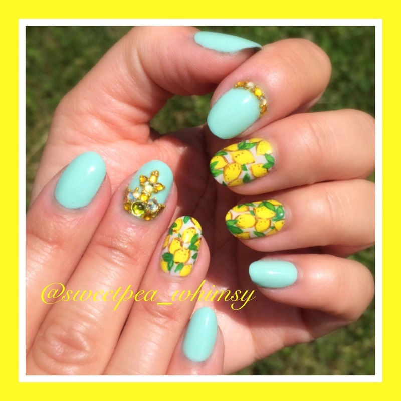 Lemons, Sunshine & Blue Skies nail art by SweetPea_Whimsy