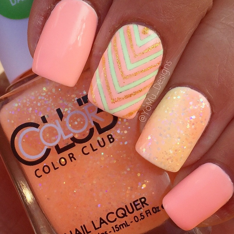 Pleasantly Peachy  nail art by JMura_Designs