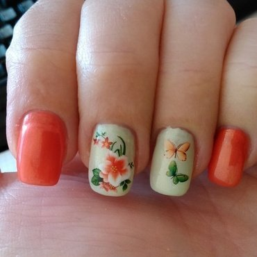 Orange butterflies nail art by Nail Crazinesss