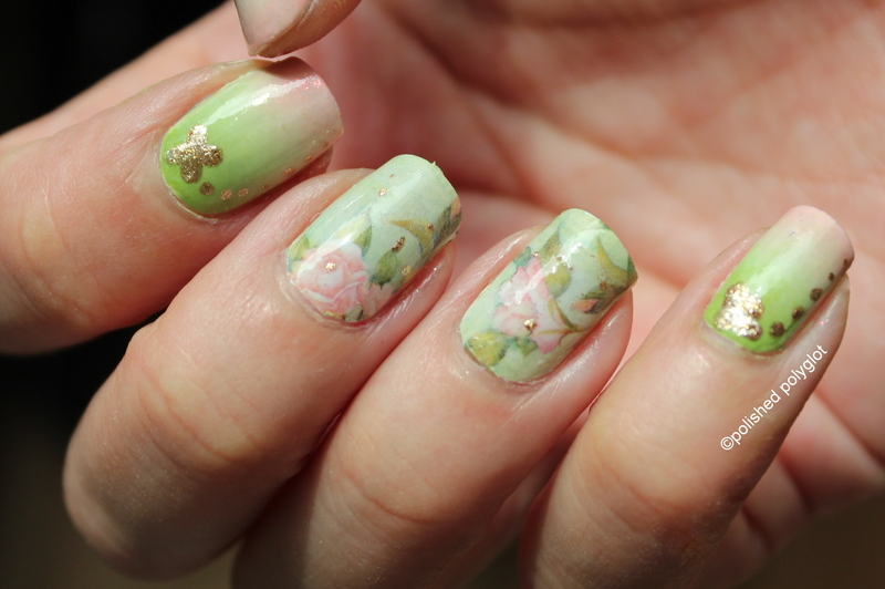 Flower-y mani in green and pink nail art by Polished Polyglot