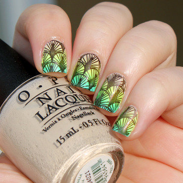 Stamped Green Gradient nail art by Moriesnailart