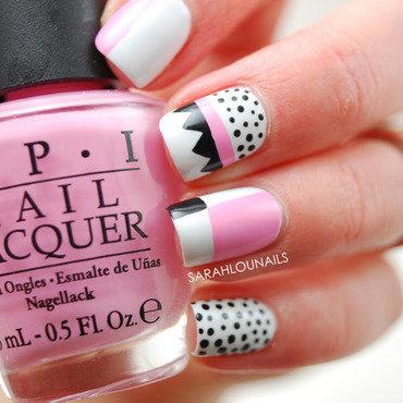 Black, White & Pink Nails nail art by Sarah S