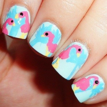 Flamingos nail art by Melany Antelo