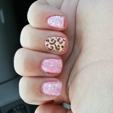 Pink Leopard nail art by KiboSanti
