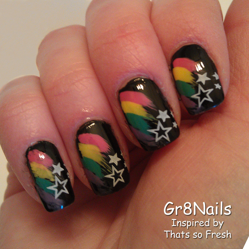 rainbow shooting stars nail art by Gr8Nails