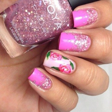 Pink glitter gradient nail art by anas_manis