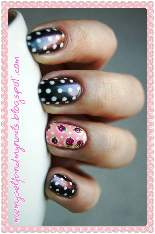 Hail in the rose garden nail art by ELIZA OK-W