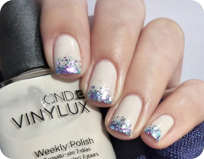 Nude with glitter nail art by Romana