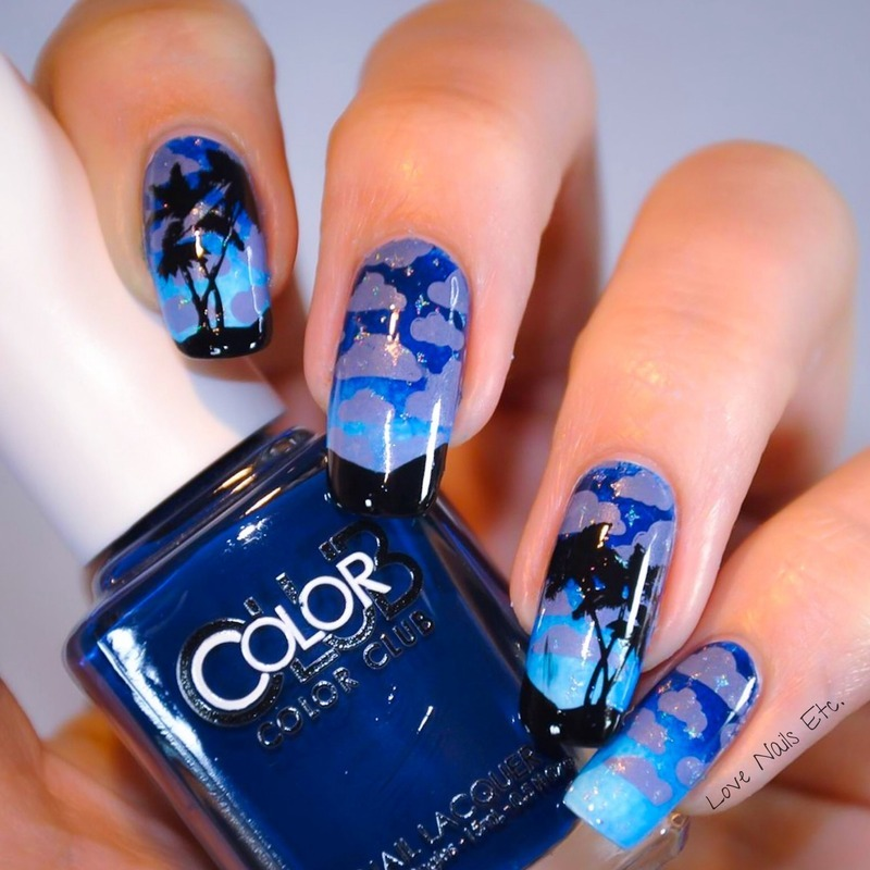 Starry Night  nail art by Love Nails Etc