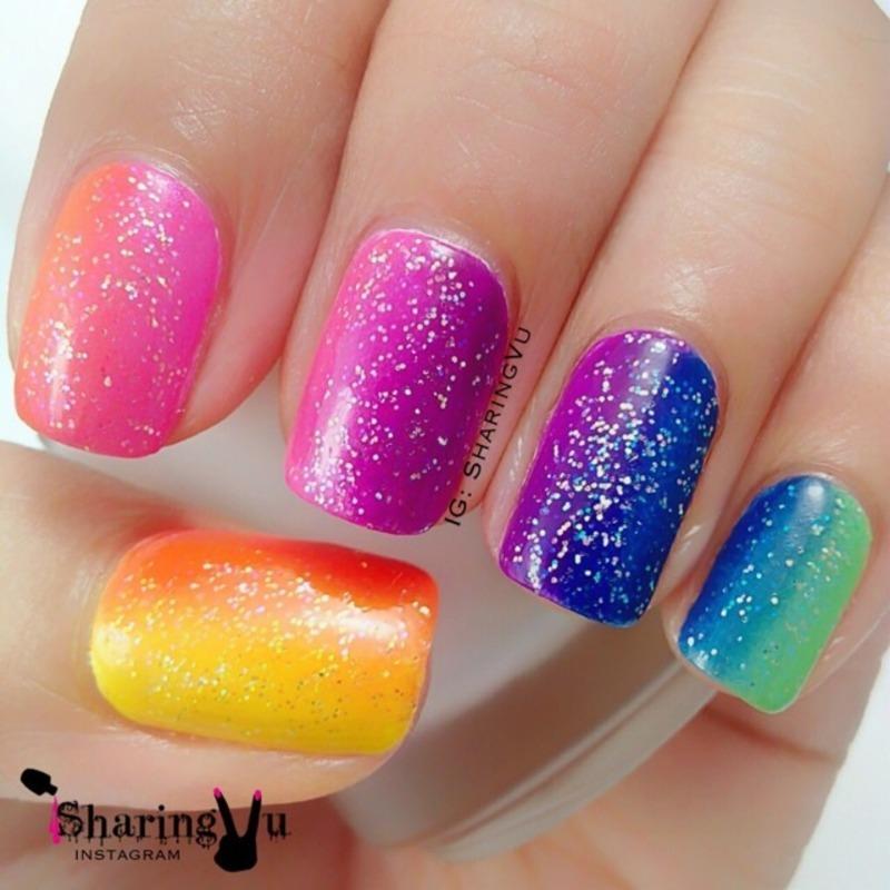 Neon Gradient nail art by SharingVu