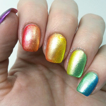 Rainbow Gradient nail art by Lindsay