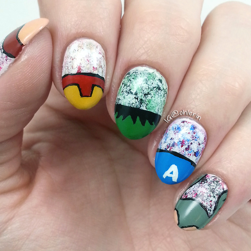 Distressed Avengers nail art by Lindsay
