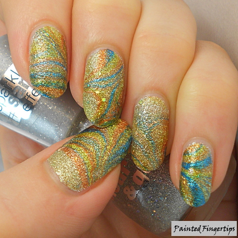 Boiled Sweets Textured Water Marble nail art by Kerry_Fingertips