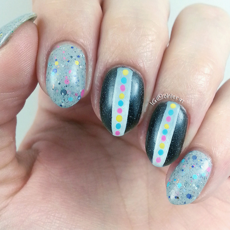 Greys and brights nail art by Lindsay