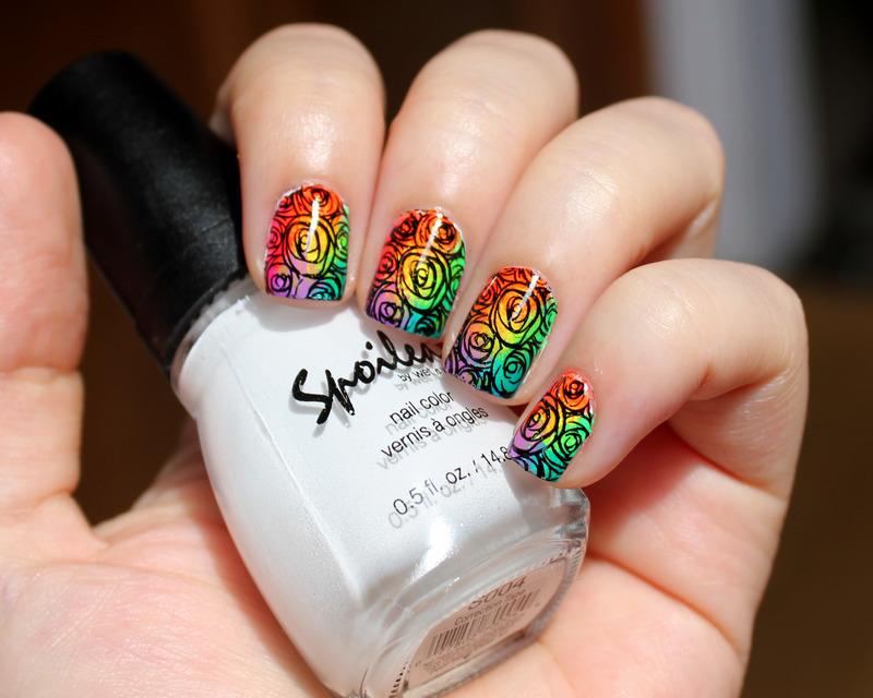 Neon Rainbow Roses nail art by Moriesnailart