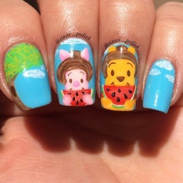Winnie the Pooh and Piglet ready for Summer  nail art by Christina