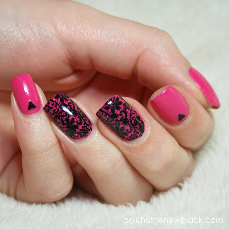 Lace stamped Nail Art nail art by Polishisthenewblack
