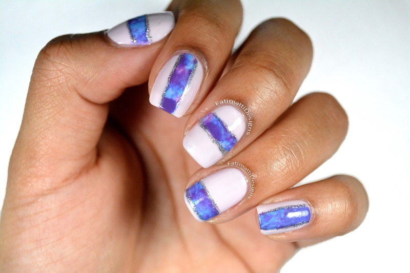 Marbled Effect nail art by Fatimah