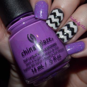 Purple and Chevron nail art by Victoria Lynn