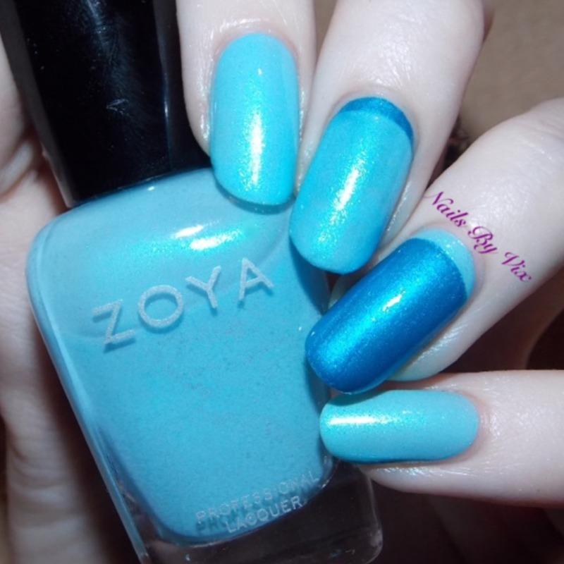 Blue Ruffian nail art by Victoria Lynn