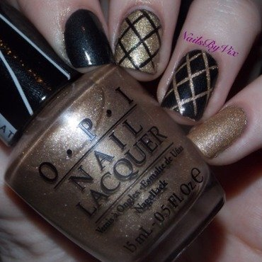 Black and Gold Quilted nail art by Victoria Lynn