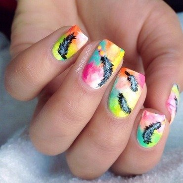 Neon splash  nail art by Massiel Pena