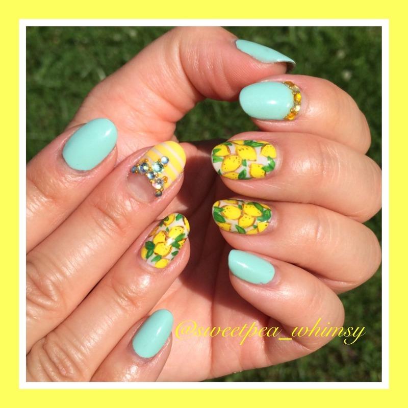 🍋 Lemons, Sunshine & Blue Skies (nail redo) nail art by SweetPea_Whimsy
