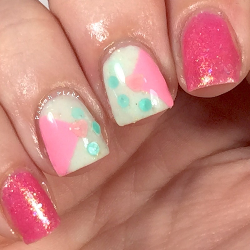 80's Barbie Style nail art by Crystal Bond