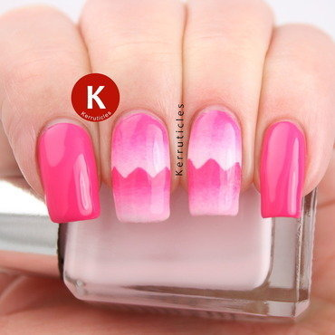 Pink scaled gradient zigzags nail art by Claire Kerr