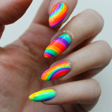 Rainbow Water Marble nail art by Lisa Yabsley