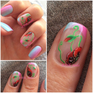 Handpainted Poppies nail art by Anna Sh