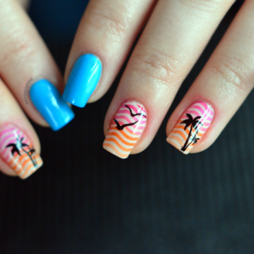 Meet me at sunset #2 nail art by 9th Princess