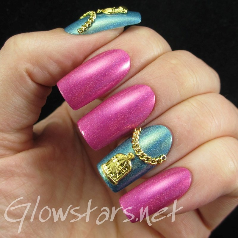 Birdcages on holo nail art by Vic 'Glowstars' Pires