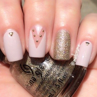 Neutral negative space design nail art by Melissa