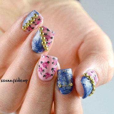 Jeans meet roses nail art by ssunnysideup (Sabrina)